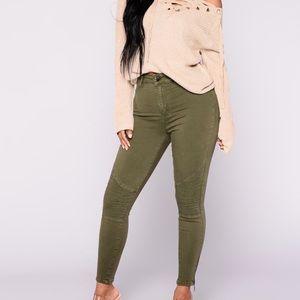 Moto Army Green Skinny Jeans